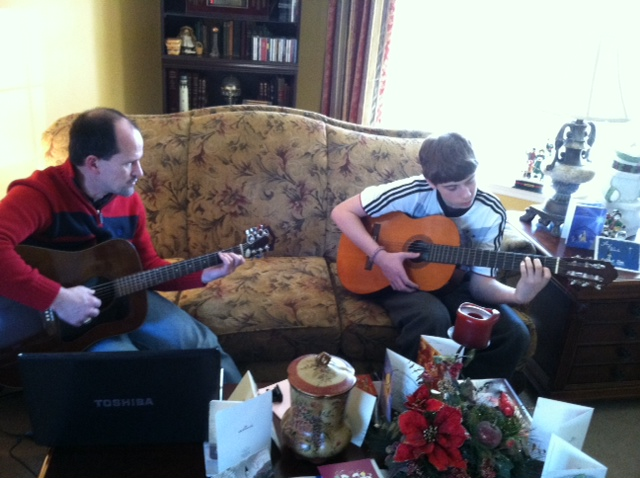A free guitar lesson. A small act of kindness from uncle to nephew.
